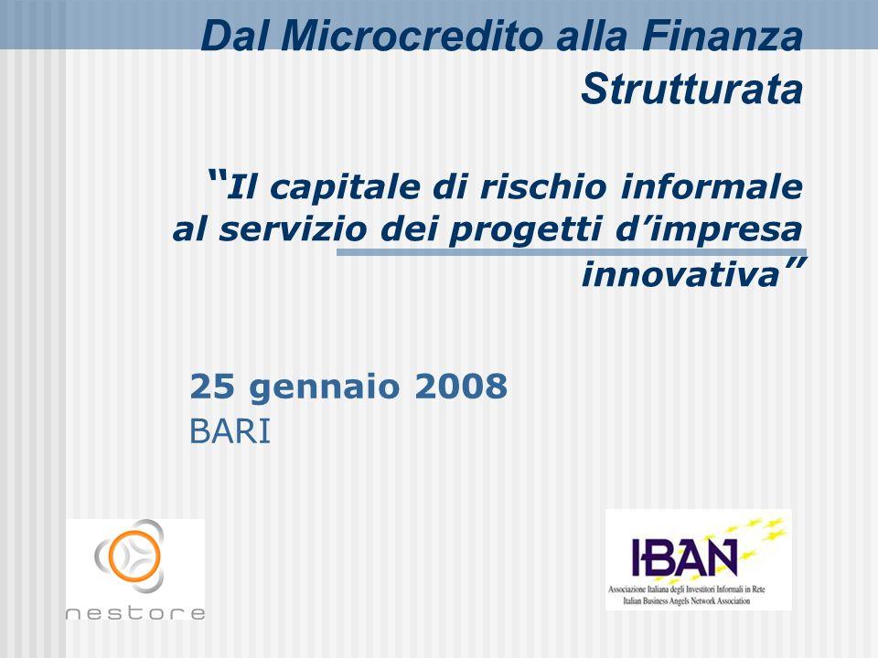 Dal Microcredito alla Finanza Strutturata Il capitale di rischio informale al servizio dei progetti d'impresa innovativa