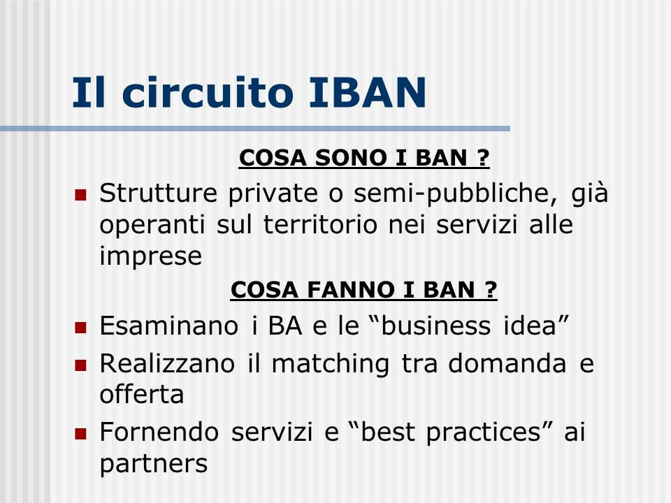 Il circuito IBAN COSA SONO I BAN Strutture private o semi-pubbliche, già operanti sul territorio nei servizi alle imprese.