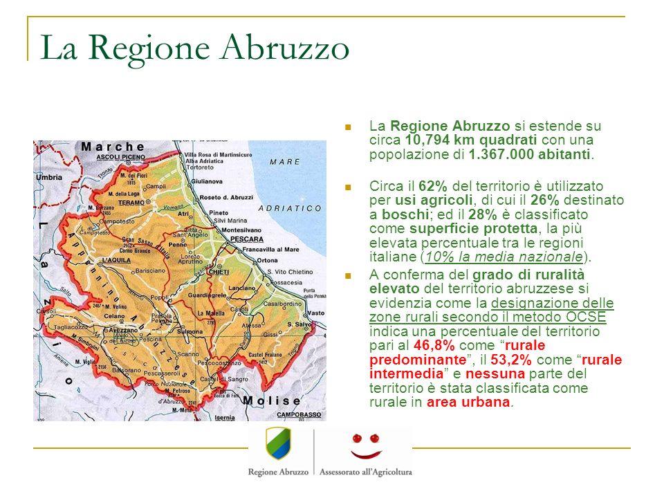 La Regione Abruzzo La Regione Abruzzo si estende su circa 10,794 km quadrati con una popolazione di 1.367.000 abitanti.