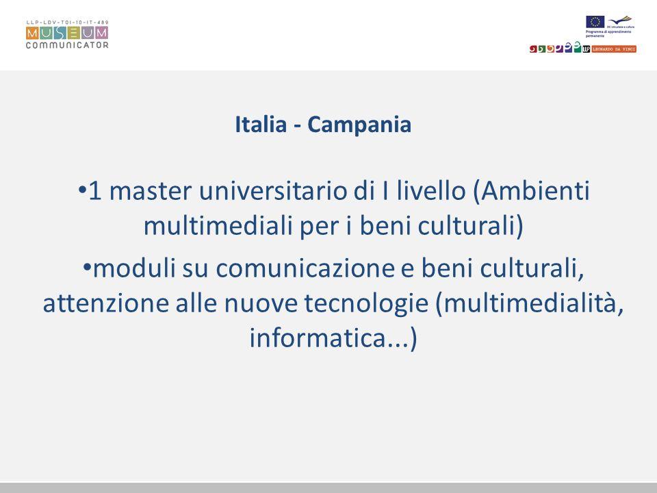 Italia - Campania 1 master universitario di I livello (Ambienti multimediali per i beni culturali)