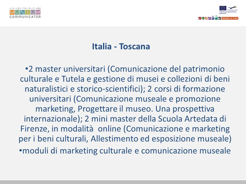 moduli di marketing culturale e comunicazione museale