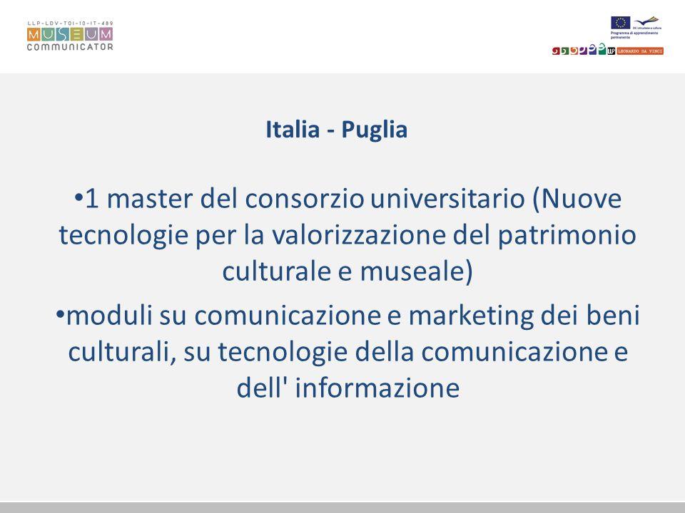 Italia - Puglia 1 master del consorzio universitario (Nuove tecnologie per la valorizzazione del patrimonio culturale e museale)