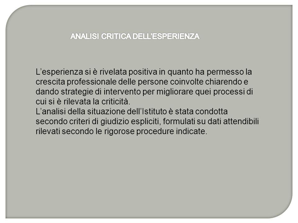 ANALISI CRITICA DELL'ESPERIENZA