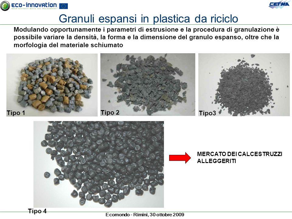 Granuli espansi in plastica da riciclo