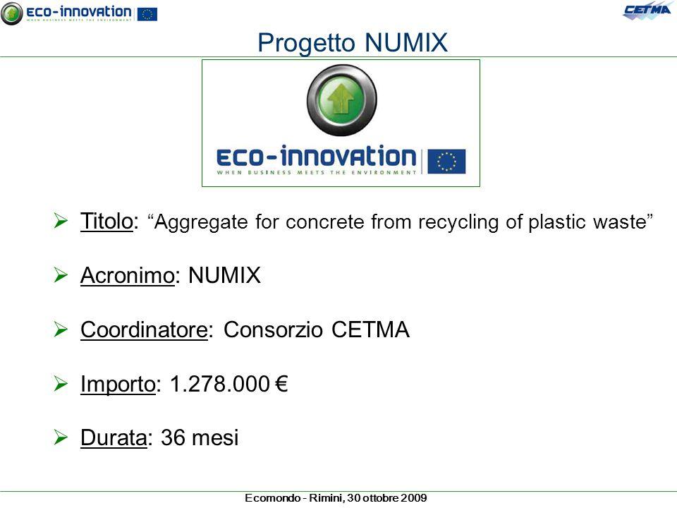 Progetto NUMIXTitolo: Aggregate for concrete from recycling of plastic waste Acronimo: NUMIX. Coordinatore: Consorzio CETMA.