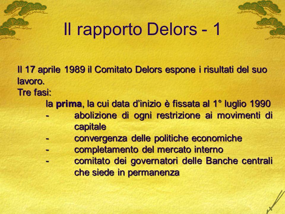 Il rapporto Delors - 1 Il 17 aprile 1989 il Comitato Delors espone i risultati del suo lavoro. Tre fasi: