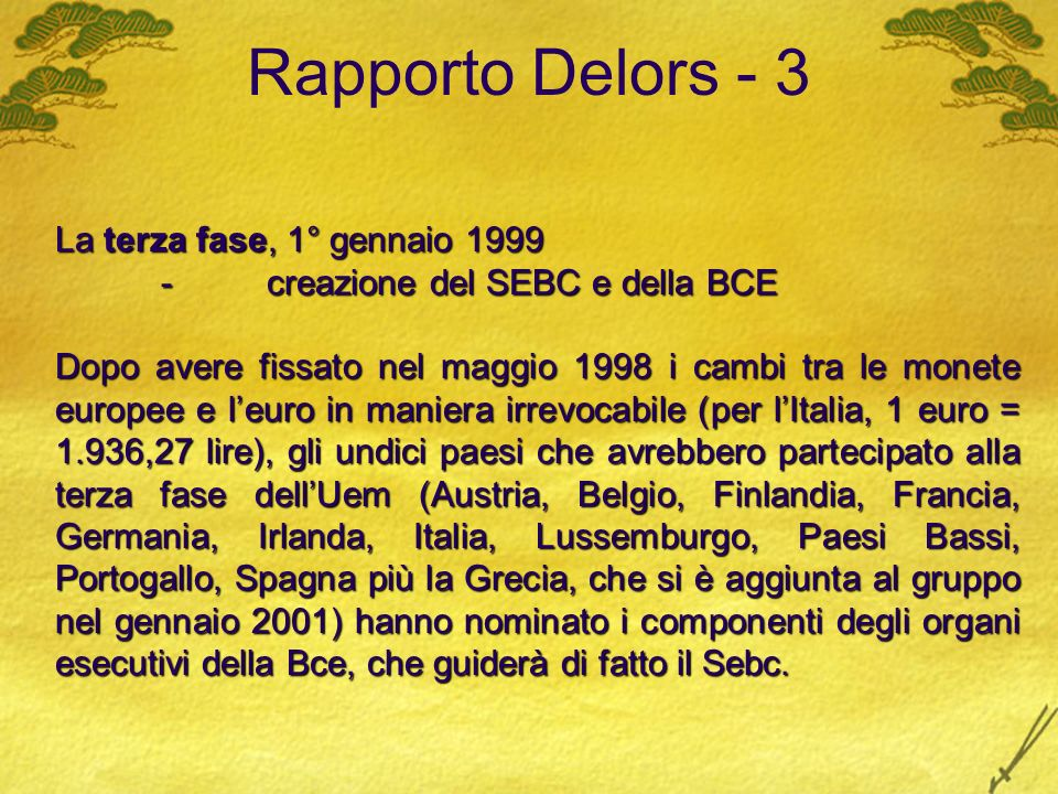 Rapporto Delors - 3 La terza fase, 1° gennaio 1999