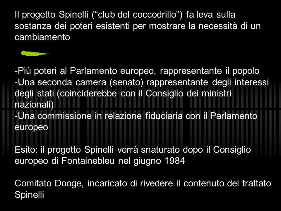 Il progetto Spinelli ( club del coccodrillo ) fa leva sulla sostanza dei poteri esistenti per mostrare la necessità di un cambiamento