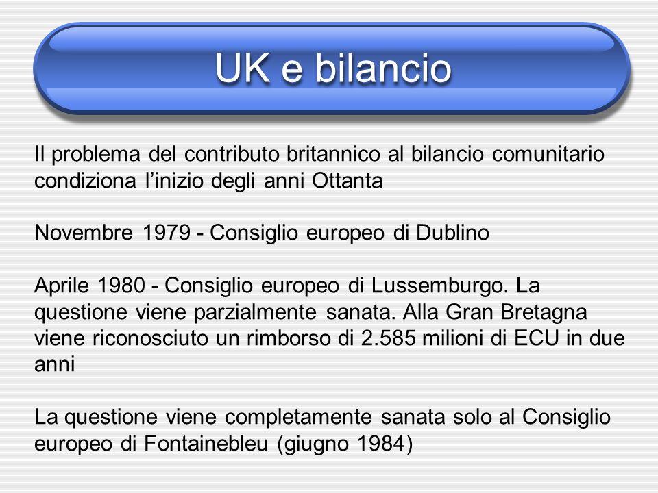 UK e bilancio Il problema del contributo britannico al bilancio comunitario condiziona l'inizio degli anni Ottanta.