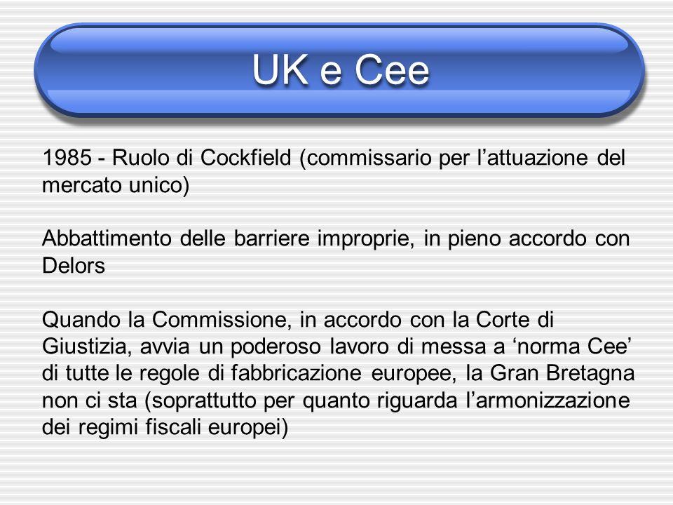 UK e Cee1985 - Ruolo di Cockfield (commissario per l'attuazione del mercato unico)