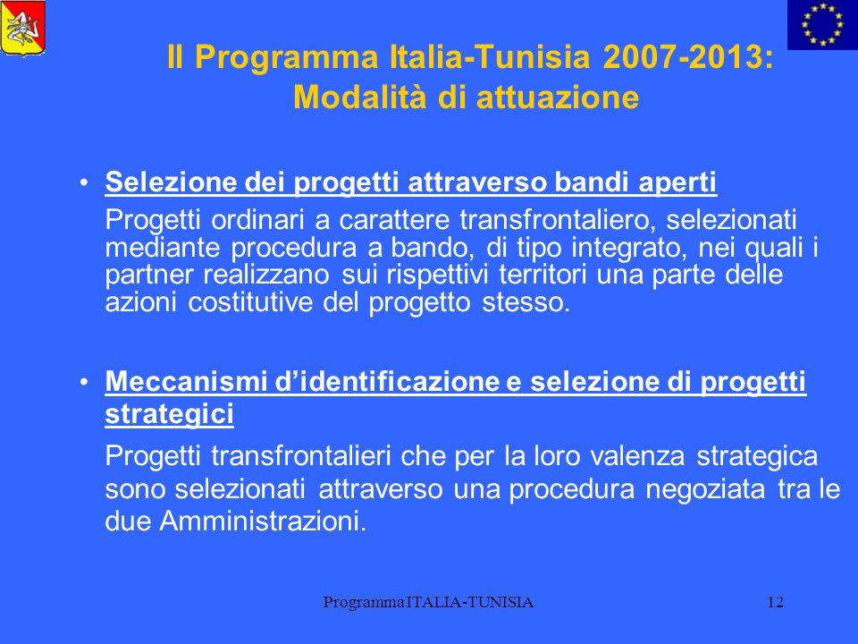 Il Programma Italia-Tunisia 2007-2013: Modalità di attuazione