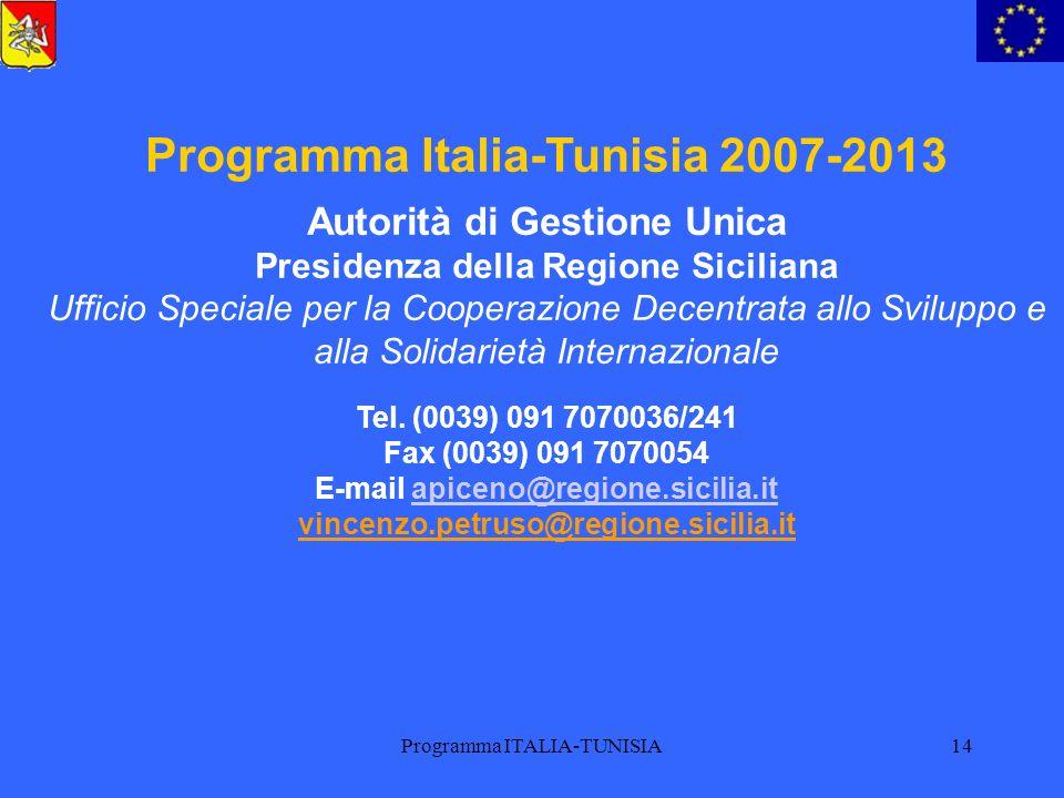 Programma Italia-Tunisia 2007-2013 E-mail apiceno@regione.sicilia.it