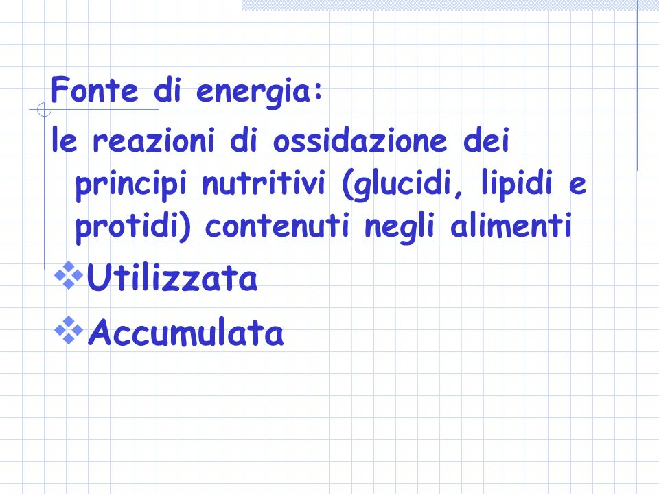 Utilizzata Accumulata Fonte di energia: