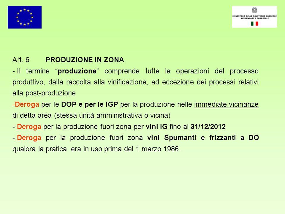 Art. 6 PRODUZIONE IN ZONA