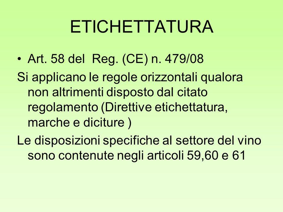ETICHETTATURA Art. 58 del Reg. (CE) n. 479/08