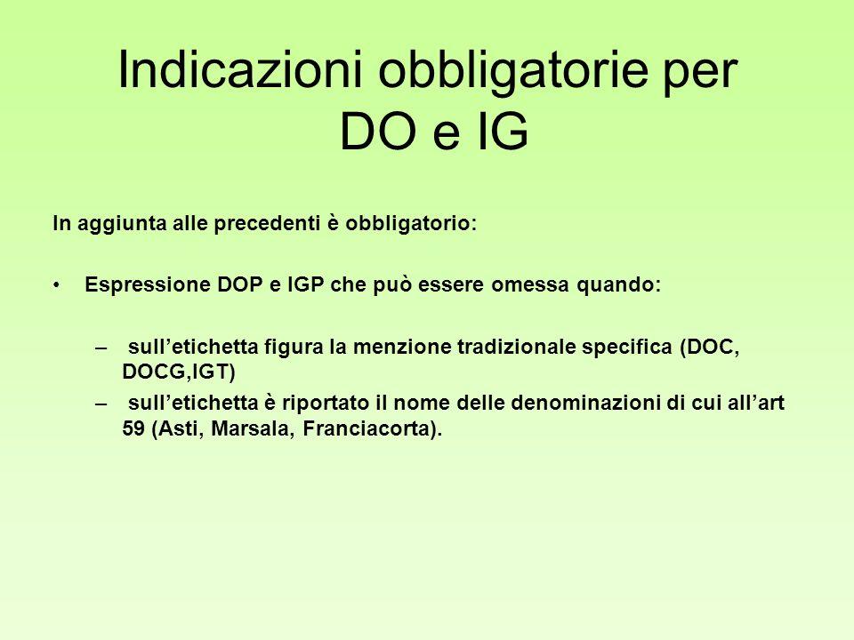 Indicazioni obbligatorie per DO e IG