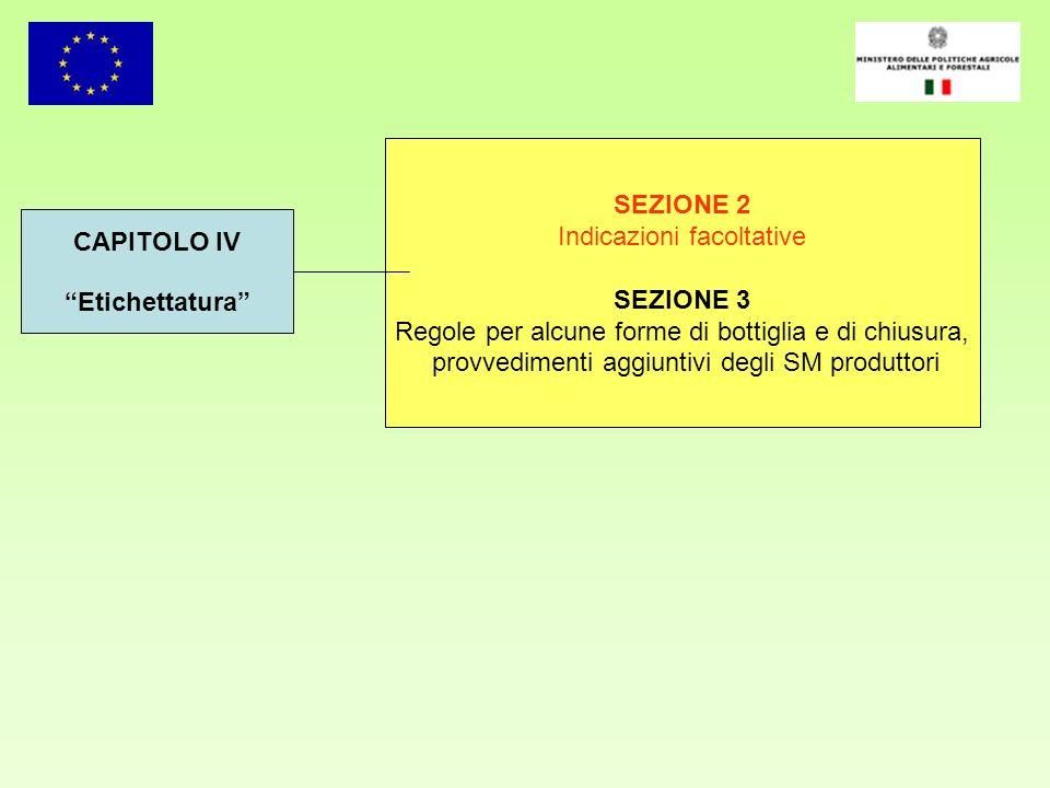 SEZIONE 2 SEZIONE 3 CAPITOLO IV Etichettatura