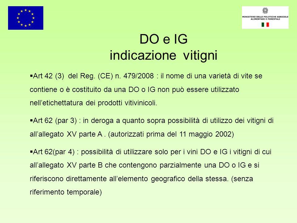 DO e IG indicazione vitigni