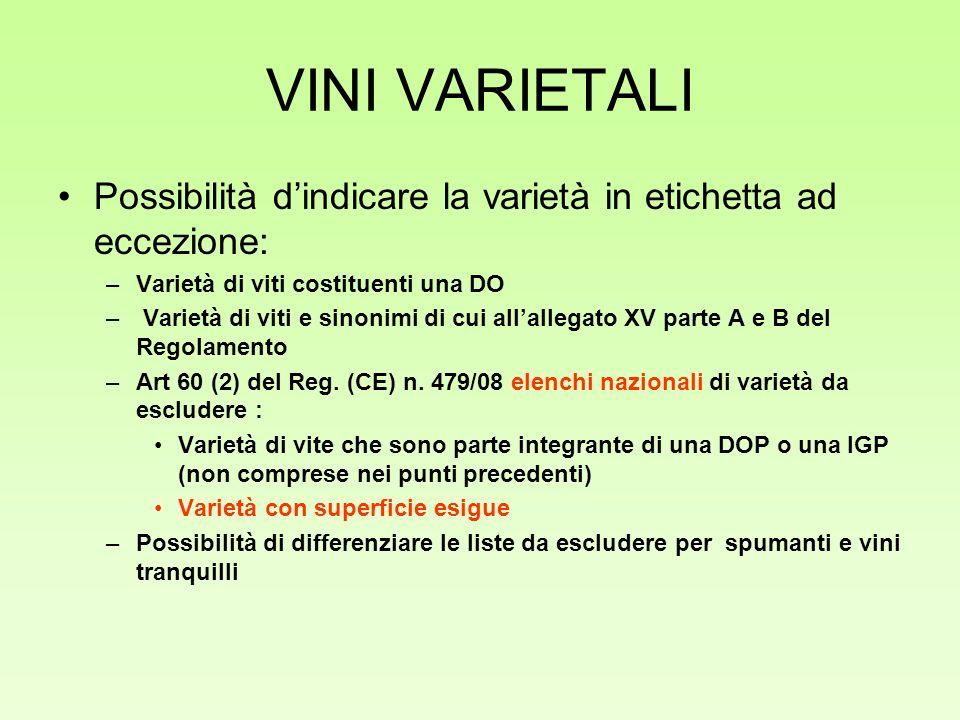 VINI VARIETALI Possibilità d'indicare la varietà in etichetta ad eccezione: Varietà di viti costituenti una DO.