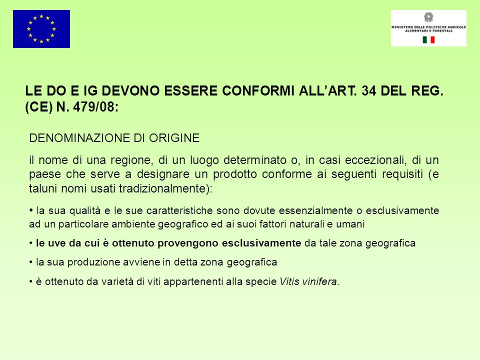 LE DO E IG DEVONO ESSERE CONFORMI ALL'ART. 34 DEL REG. (CE) N. 479/08: