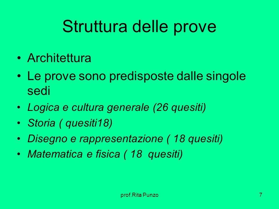 Struttura delle prove Architettura