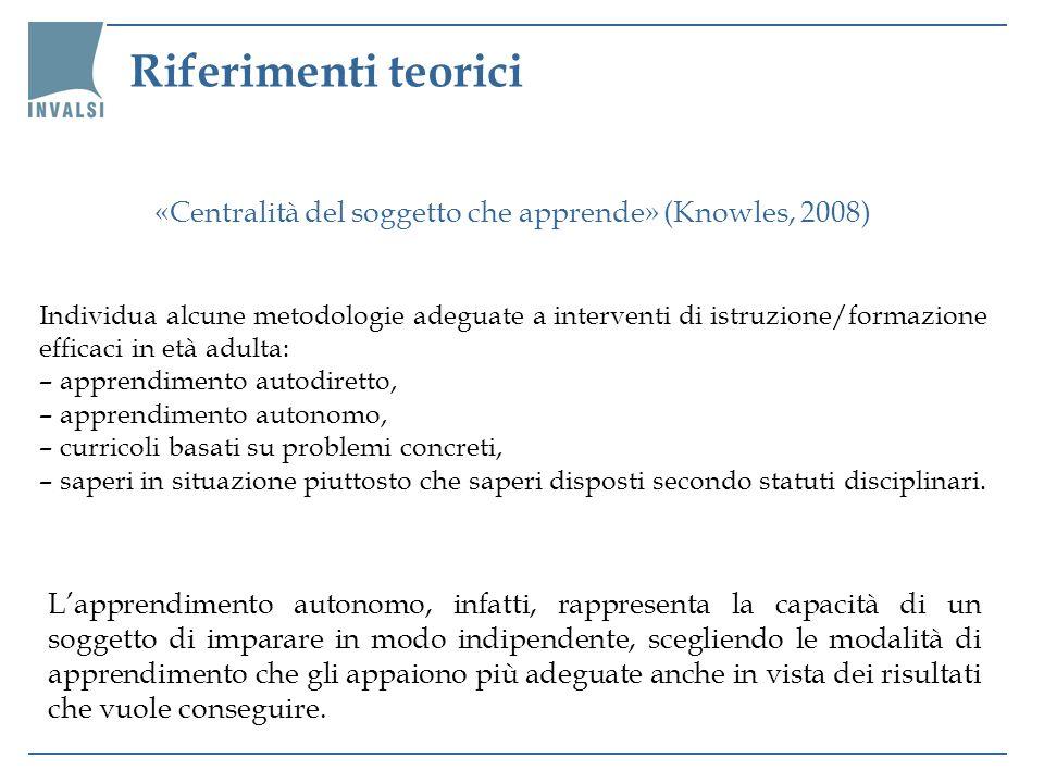 Riferimenti teorici «Centralità del soggetto che apprende» (Knowles, 2008)