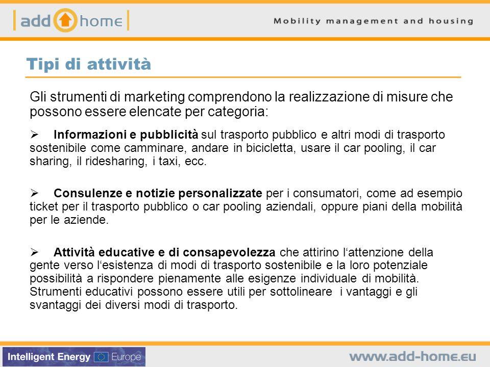 Tipi di attività Gli strumenti di marketing comprendono la realizzazione di misure che possono essere elencate per categoria: