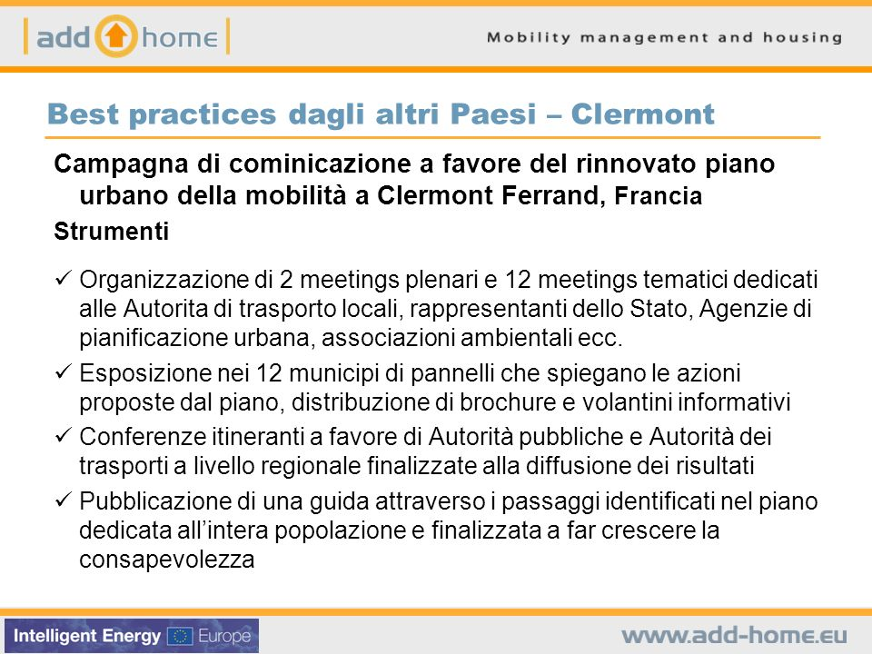 Best practices dagli altri Paesi – Clermont