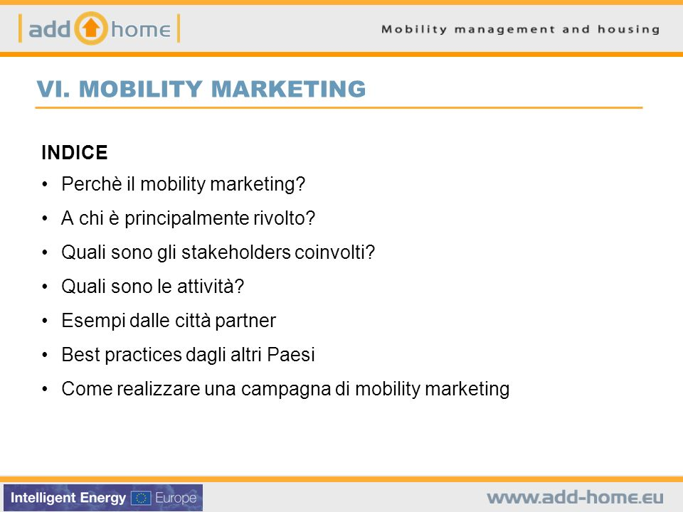 VI. MOBILITY MARKETING INDICE Perchè il mobility marketing