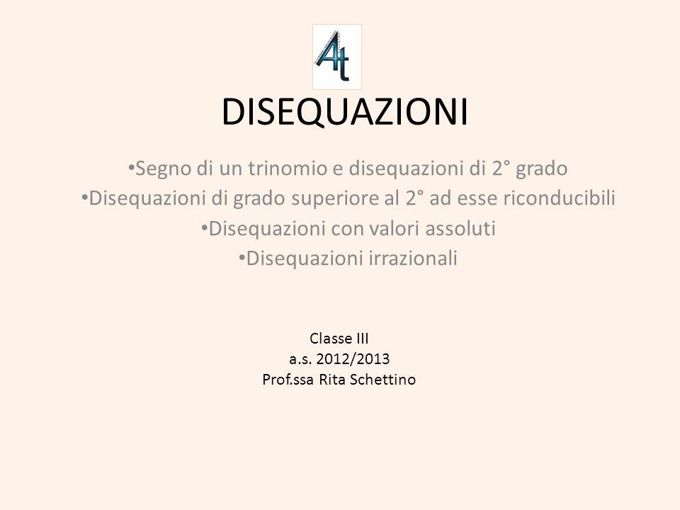 DISEQUAZIONI Segno di un trinomio e disequazioni di 2° grado