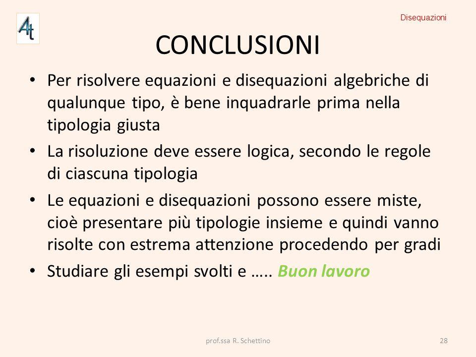 Disequazioni Conclusioni. Per risolvere equazioni e disequazioni algebriche di qualunque tipo, è bene inquadrarle prima nella tipologia giusta.