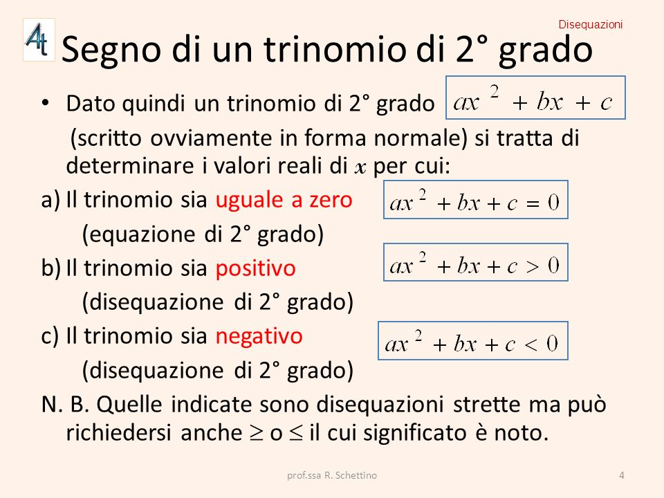 Segno di un trinomio di 2° grado