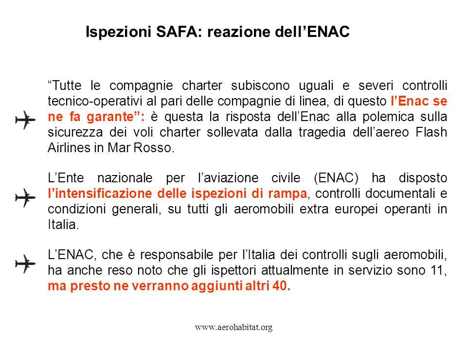 Ispezioni SAFA: reazione dell'ENAC