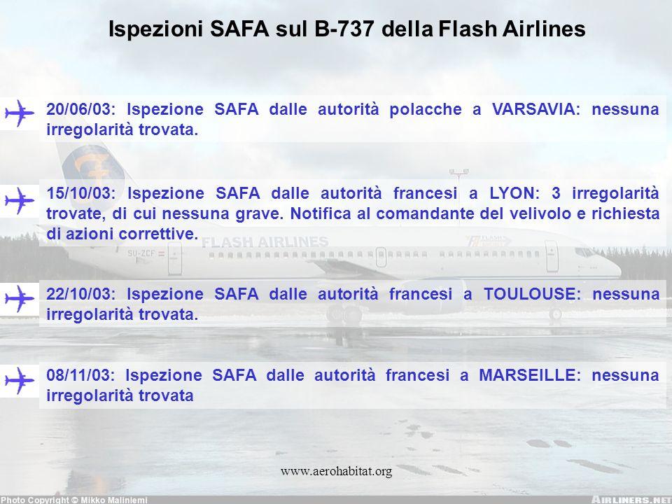 Ispezioni SAFA sul B-737 della Flash Airlines