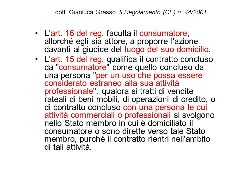 dott. Gianluca Grasso Il Regolamento (CE) n. 44/2001