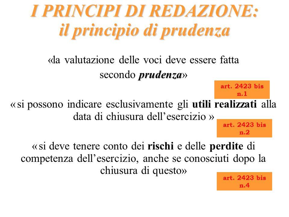 I PRINCIPI DI REDAZIONE: il principio di prudenza