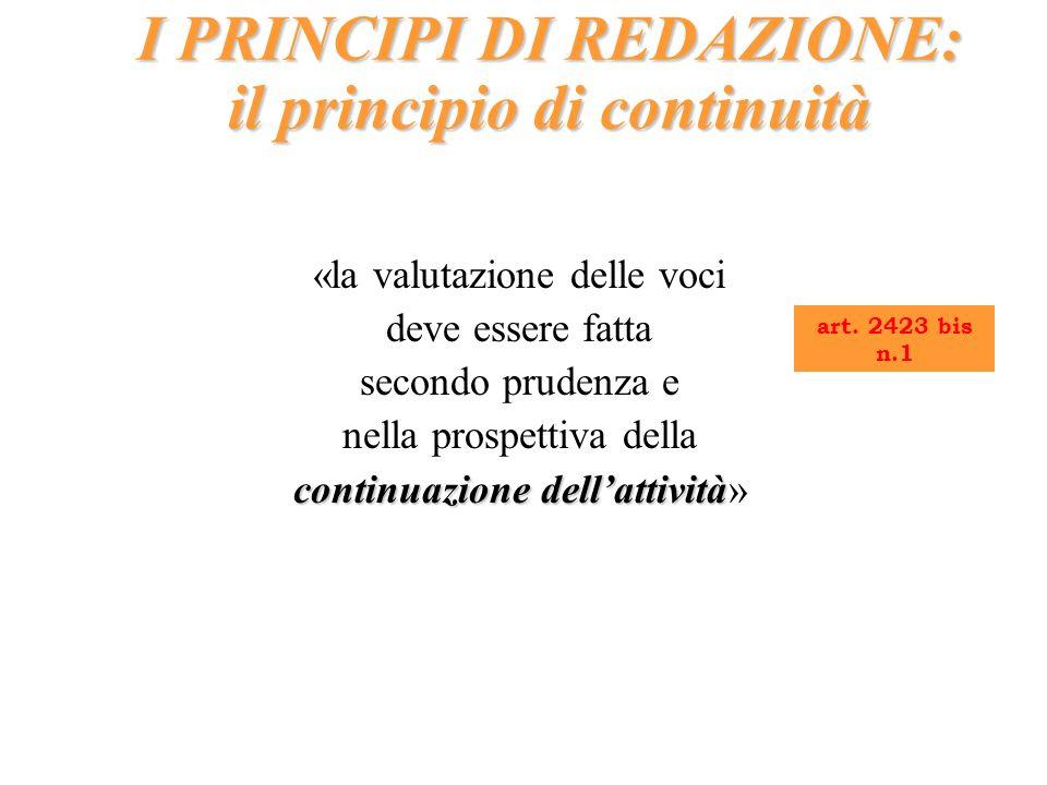 I PRINCIPI DI REDAZIONE: il principio di continuità