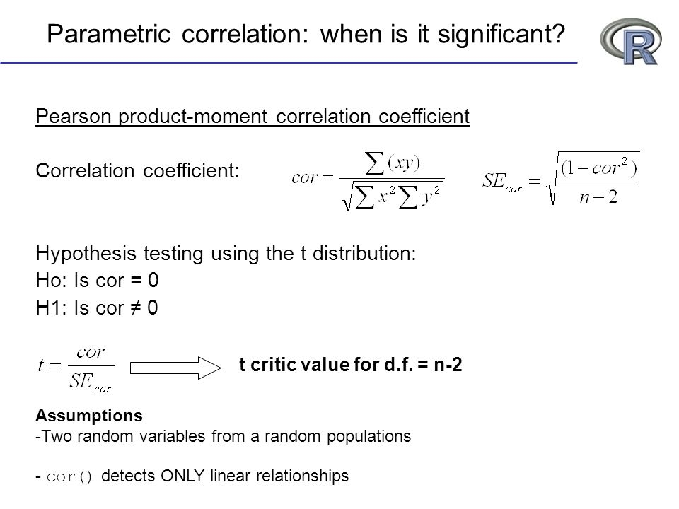 Parametric correlation: when is it significant