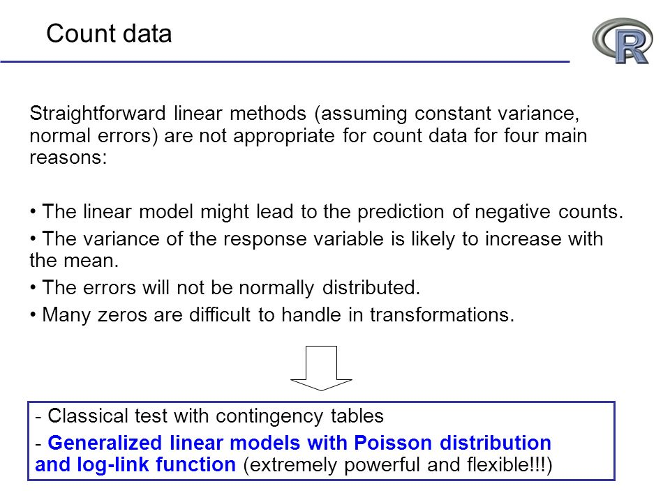 Count data Straightforward linear methods (assuming constant variance, normal errors) are not appropriate for count data for four main reasons: