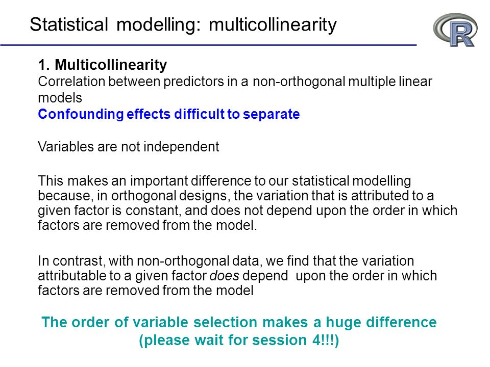 Statistical modelling: multicollinearity