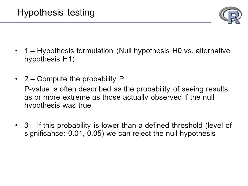 Hypothesis testing 1 – Hypothesis formulation (Null hypothesis H0 vs. alternative hypothesis H1) 2 – Compute the probability P.
