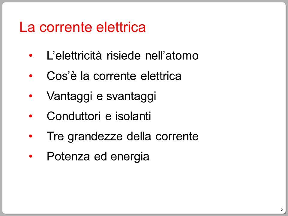 La corrente elettrica L'elettricità risiede nell'atomo