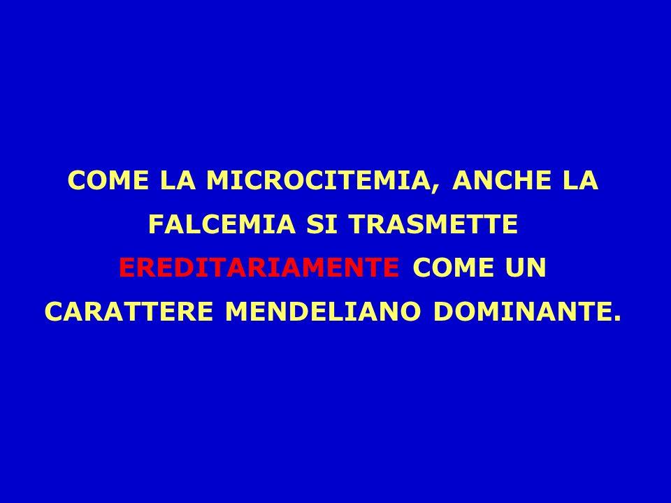 COME LA MICROCITEMIA, ANCHE LA FALCEMIA SI TRASMETTE EREDITARIAMENTE COME UN CARATTERE MENDELIANO DOMINANTE.