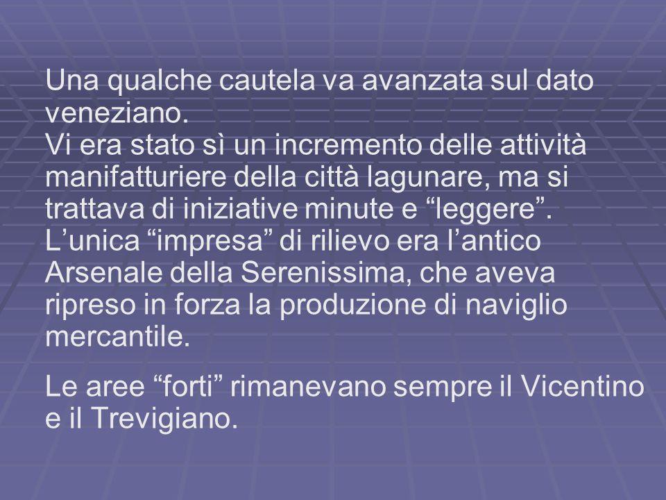 Una qualche cautela va avanzata sul dato veneziano.
