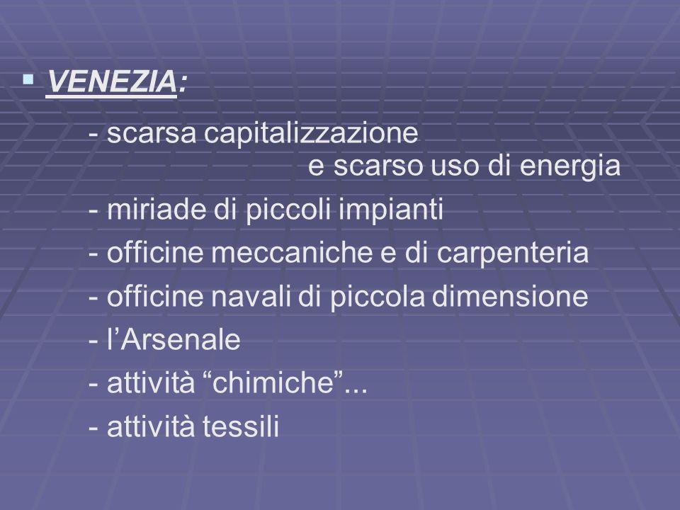 VENEZIA: - scarsa capitalizzazione. e scarso uso di energia. - miriade di piccoli impianti. - officine meccaniche e di carpenteria.