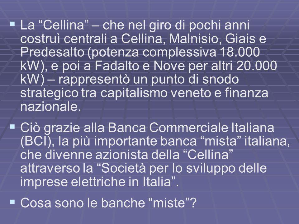La Cellina – che nel giro di pochi anni costruì centrali a Cellina, Malnisio, Giais e Predesalto (potenza complessiva 18.000 kW), e poi a Fadalto e Nove per altri 20.000 kW) – rappresentò un punto di snodo strategico tra capitalismo veneto e finanza