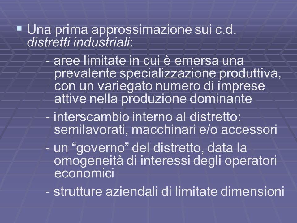 Una prima approssimazione sui c.d. distretti industriali: