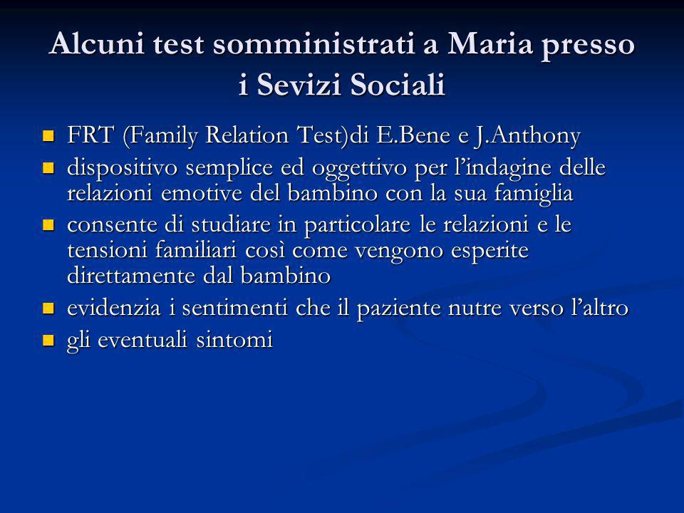 Alcuni test somministrati a Maria presso i Sevizi Sociali