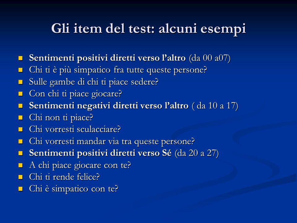 Gli item del test: alcuni esempi