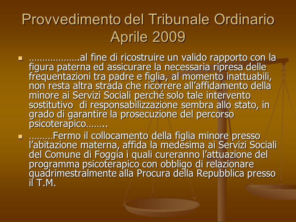 Provvedimento del Tribunale Ordinario Aprile 2009